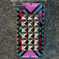 Studded iPhone 4/4s Case Green Pink Tribal Print Silver OR Gold Studs