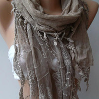 ON SALE/Stone Color -- Elegance Shawl / Scarf with Lace Edge,,,