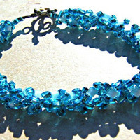 Christmas in July Turquoise Beadwork Bracelet Right Angle Bracelet CIJ XMAS in July