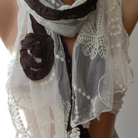 ON SALE/Brown - Elegance Shawl / Scarf with Lace Edge,