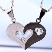 Personalized Engrave Interlocking Puzzle Couples Necklaces,Matching Pendant Sets - Gullei - - Gift For Valentine Titanium Couple Necklace