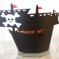 Pirate Ship Cupcake Wrappers 12 by cakeadoodledoo on Etsy