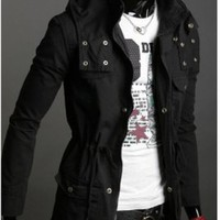Fashion Style Slim Wind Coat Black