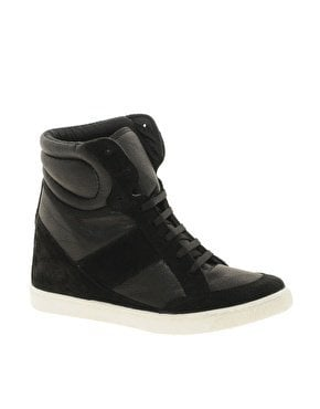 ASOS DENY Wedge High Top Trainers With Suede Detail at asos.com