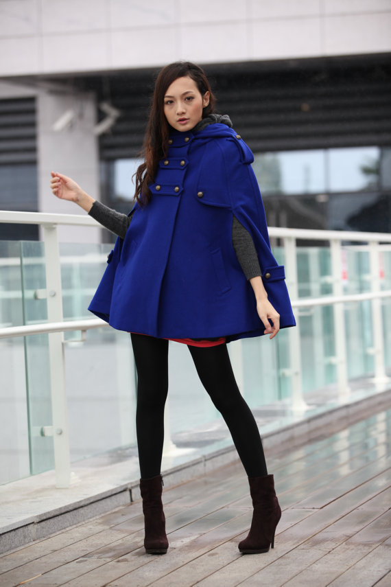 Blue Hoodie Cashmere Coat Double Breasted Hooded Wool Winter Cape Coat Wool Winter Jacket for Women - NC229