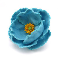 Felt brooch Blue Flower