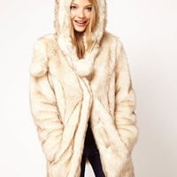ASOS Faux Fur Hooded Coat With Ears at asos.com