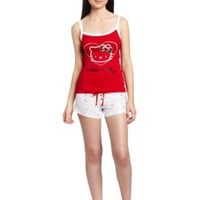 Hello Kitty Women`s Hk Shimmer And Shine Pajama Tank Top And Shorts Set
