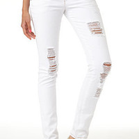White Destroyed Skinny Jean