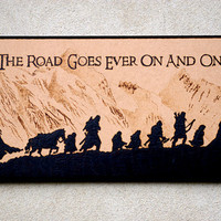 The Lord of the Rings art - The Fellowship of the Ring woodburned home decoration