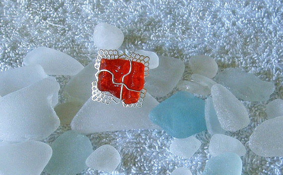 Red sea glass ring. Sea glass jewelry.