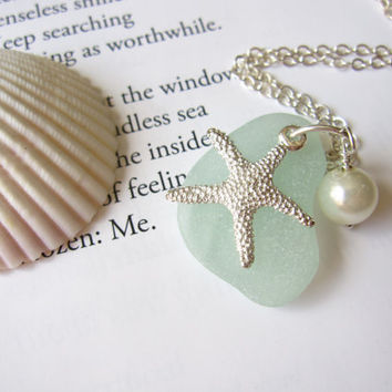 Sea Glass Bridesmaid Starfish Necklace in Seafoam Blue with fresh water pearl - Beach Wedding necklace - Mermaid jewelry