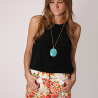 nelly floral short - beige with coral print at Esther Boutique