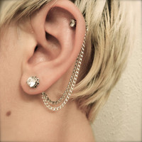 Double Cartilage Chain on Earring Backs - Silver