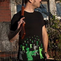 Zombie Attack men's t-shirt size Large american apparel zombies tee