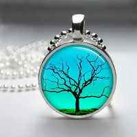 Round Glass Pendant Bezel Pendant Tree Pendant Tree Necklace Photo Pendant Art Pendant With Silver Ball Chain (A3548)