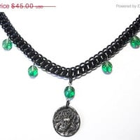Medusa necklace, Gothic snake necklace, Chainmaille, Half Persian, Black, silver and green