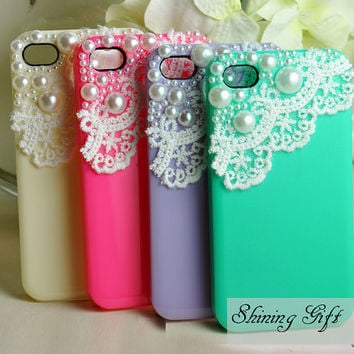 4 Colors For Choice- Lace with Pearl iPhone 4 case, iPhone 4s case, iPhone case, iphone cover ,iphone 4 cover, case for iPhone 4/iphone 4S