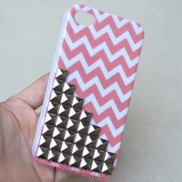 silver Metal pyramid stud Chevron iPhone 4 Case, iPhone 4s Case, iPhone 4 Hard Case, iPhone Case
