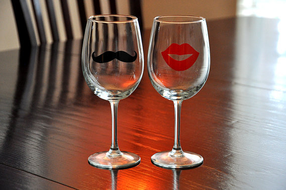 Mustache Lips Wine Glasses His Hers