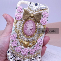 Wedding Pink Flower Pearl Rhinestone Crystyal iPhone 4 Case  iphone 4 cover Hard Case Cell phone case iphone 4S Apple iPhone 4s Case cover