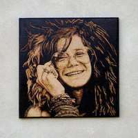 Janis Joplin - woodburned wall art