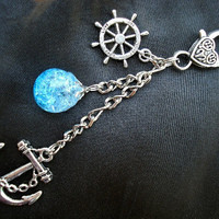 Nautical Anchor Fried Marble Rudder Bright Blue Love Keychain