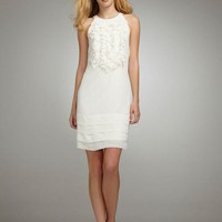 David`s Bridal Short Ruffle Chiffon Dress Style 50060