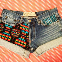 Low Rise or High Rise Tribal Print and Studded Jean shorts / Blue Azteca