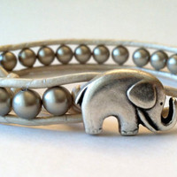 Elephant Leather Wrap Bracelet, Platinum Swarovski Pearls, Chan Luu, Good Luck Elephant Button