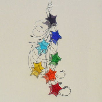 Chakra Stained Glass Suncatcher, Stars & Swirls Design