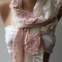 ON SALE/Pink -- Elegance Shawl -- Scarf with Lace Edge............