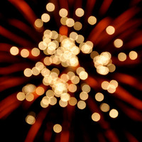 Fine Art Photo Print - Fireworks Abstract Bokeh Fourth of July Celebrate Party Red White Black BOOM - Home Decor Wall Art 8 x 10