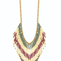 Gold Chain Multi Color Beaded Fringe Necklace