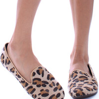 Faux Fur Leopard Print Slippers with Rubber Sole