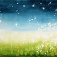Large original watercolor painting, dandelion seeds, blue green soft and dreamy