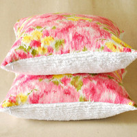 "Vintage Ikat Pillow Cover Pair Pink Ikat and White Chenille 16""x16"""