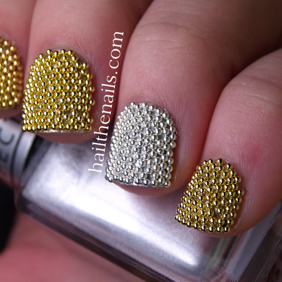 Gold & Silver Metallic Caviar Beads Nail Art - This seasons must have nails.