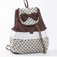 YESSTYLE: Bow-Accent Dot-Panel Backpack (Coffee - One Size)