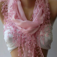 Pink - Cotton/ Traditional Turkish fabric -Anatolian Shawl/Scarf-