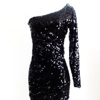 Kami Shade Midnight Black Asymmetrical One Sleeve Sequin Min