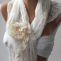 Pearl White - Elegance Shawl -Scarf with Lace Edge-