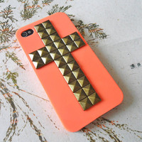 cross cell iPhone hard case cover with Bronze pyramid stud for iPhone 4 hand Case, iPhone 4s Case, iPhone 4 GS hand Case  -012