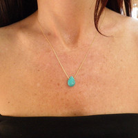 Tiny Teal Howlite Turquoise Teardrop Necklace, 14K Gold Filled Necklace, Minimalist Pendant, Beautiful Delicate, Feminine Gift For Her