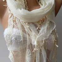Pearl White  ---- Elegance Shawl / Scarf with Lace Edge-
