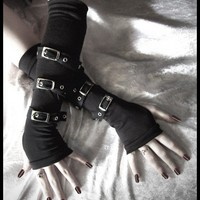 Contorted Angel Arm Warmers - Gothic Unisex Buckled Bondage - Black w/ Silver Metal Buckles - Rivet Head Visual Men Punk Dark Vampire Lolita