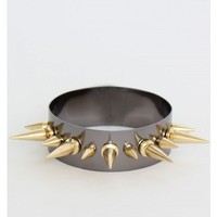 Gunmetal and Gold Spiked Bracelet