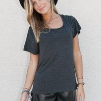Comfy Grey Oversized Basic T-Shirt