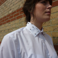 Silver Spike Stud Collar White Shirt Oversized Blouse Vintage Punk Grunge 90's