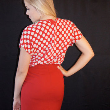 Red and White Polka Dot Vintage Top